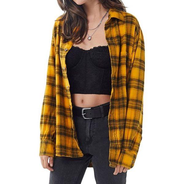 Vintage Plaid Flannel Shirt For Women