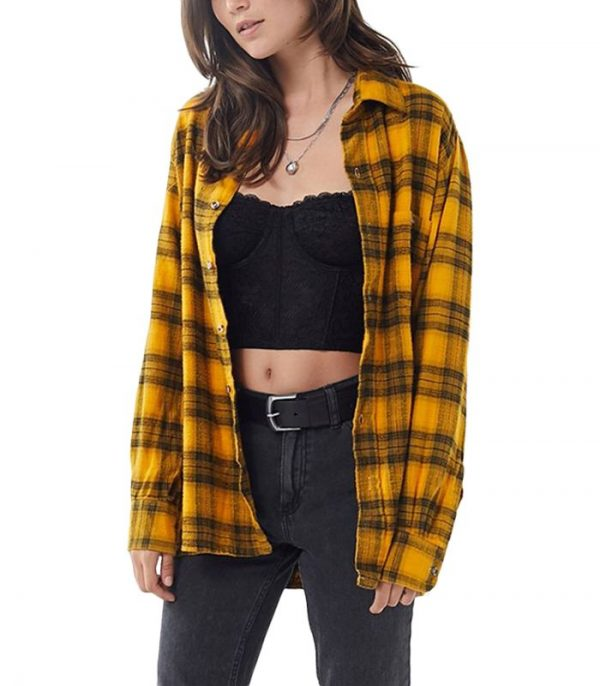 Vintage Plaid Flannel Shirt For Women