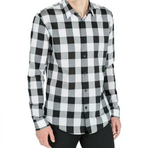 Dark White Gray Mens Flannel Shirt