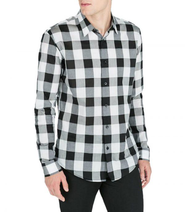Dark White Gray Mens Flannel Shirt