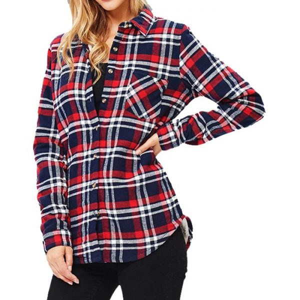 Latest Full Sleeve Plaid Flannel Shirt For Women
