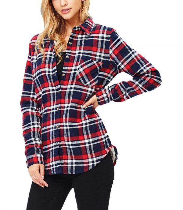 Latest Full Sleeve Plaid Flannel Shirt For Women