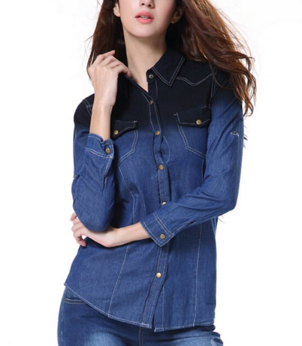 Long Sleeve Women Denim Shirt Manufacturer