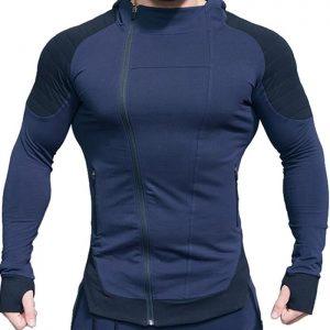 Mens Custom Contrasted Oblique Zipper Jackets Manufacturer