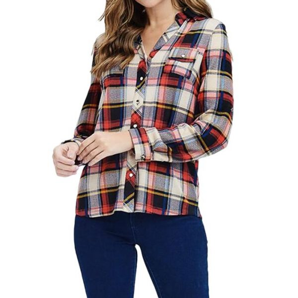 Plaid Button Down Women Flannel Shirt Manufacturer