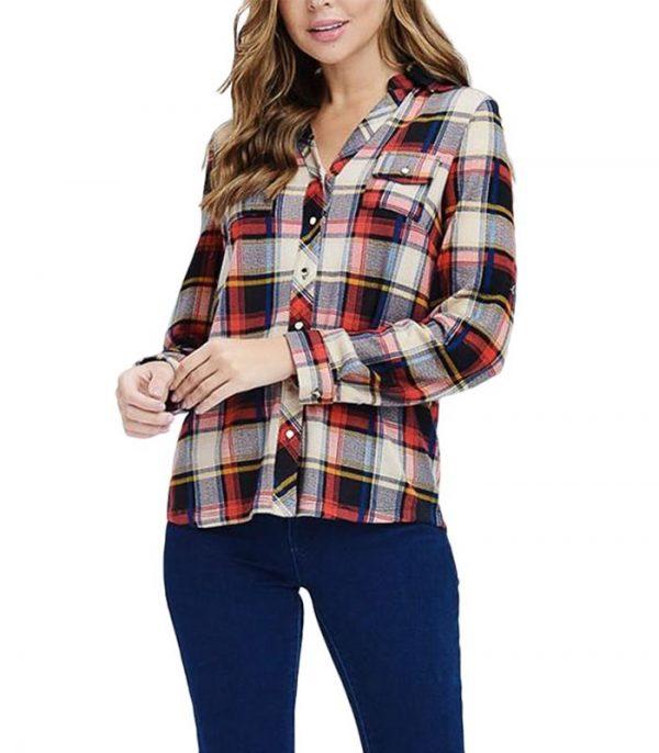 Plaid Button Down Women Flannel Shirt Manufacturer