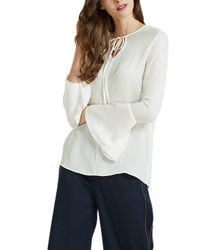 White Trumpet Sleeves Top Women Manufacturer