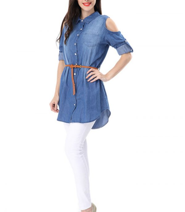 Women Denim Shirt With Cutout Sleeves Manufacturer