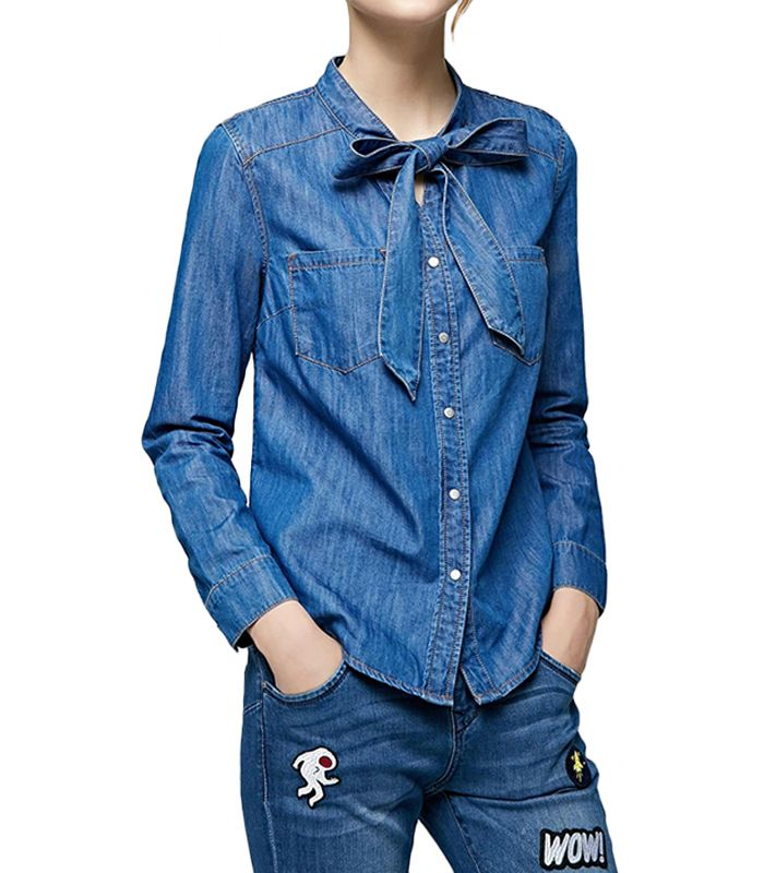 women long sleeve denim shirt