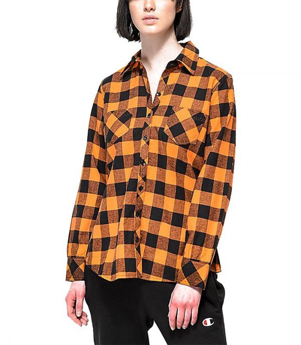 Women Orange Plaid Flannel Shirts