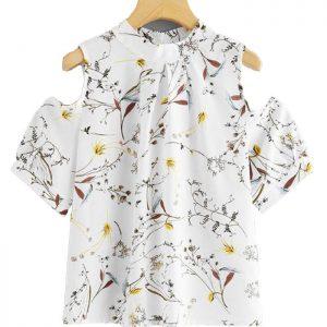 Womens Chiffon Floral Short Sleeve Tshirt Manufacturer