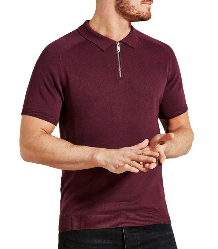 zip neck burgundy polo tees