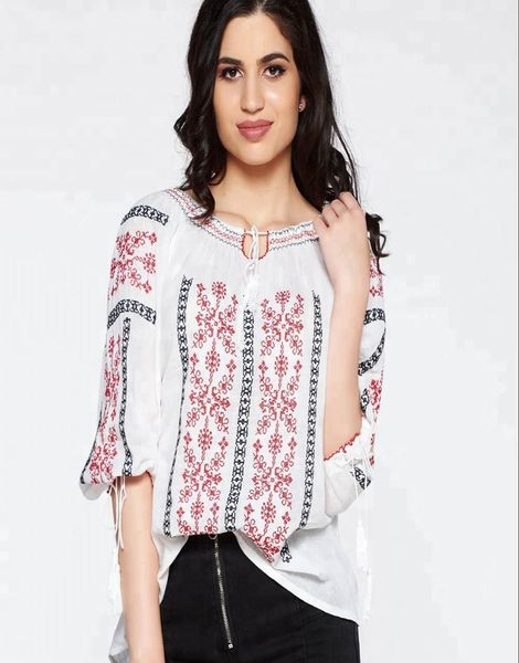 Bulk Gorgeous Romanian Style Cotton Embroidery Top