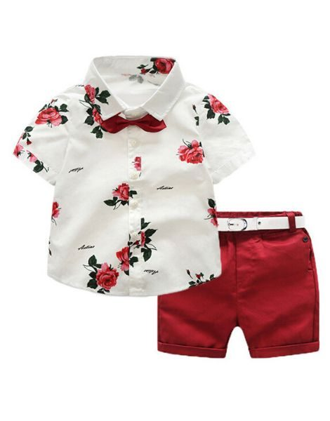 Wholesale Flower Printed Boys Clothing Set