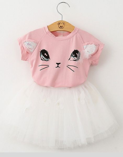 Custom Cartoon Kitten Printed Girls Clothing Set