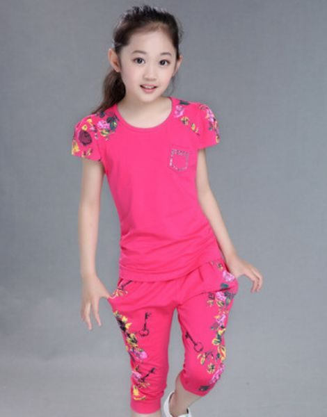 Wholesale Girls Floral Print Clothing Suit