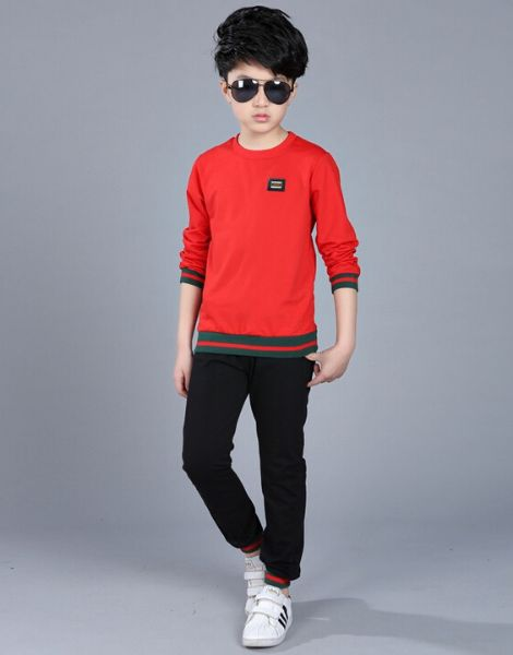 Bulk Stripe Elastic Sports Boys Clothes Set Manufacturers
