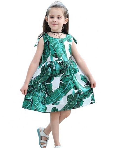 wholesale leaf printed dress for little girls