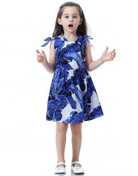 bulk leaf printed dress for little girls