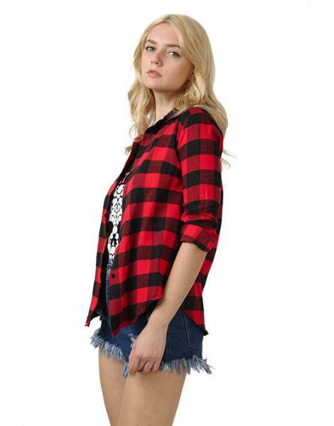 bulk women plaid flannel cocoon shirt