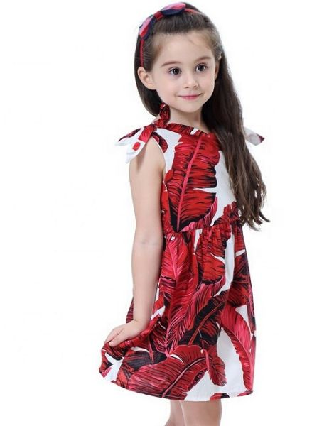 bulk leaf printed dress for little girls