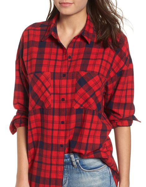 custom red and black plaid shirt for women