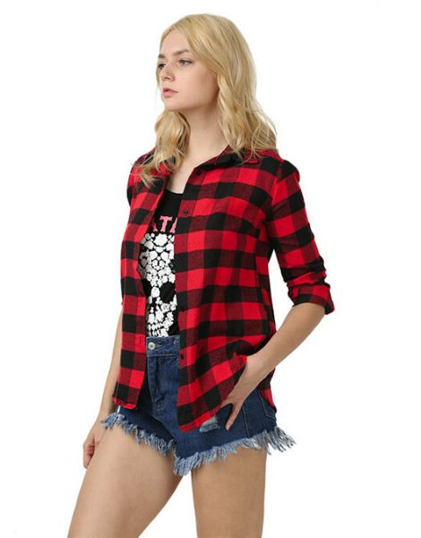 bulk women plaid flannel cocoon shirt