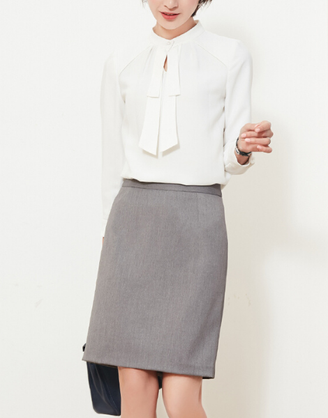 wholesale bulk white long sleeve elegant office top