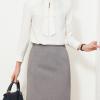 custom white long sleeve elegant office top