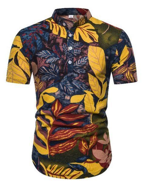 custom leaf print cotton hawaiian summer shirts
