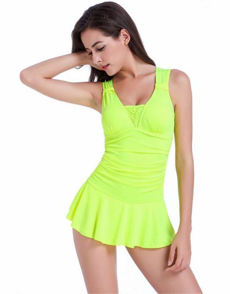 bulk bright color pleated skirt swimwear