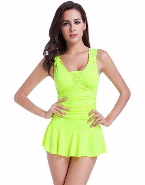 wholesale bulk bright color pleated skirt swimwear