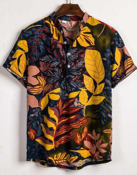 custom leaf print cotton hawaiian summer shirts manufacturers