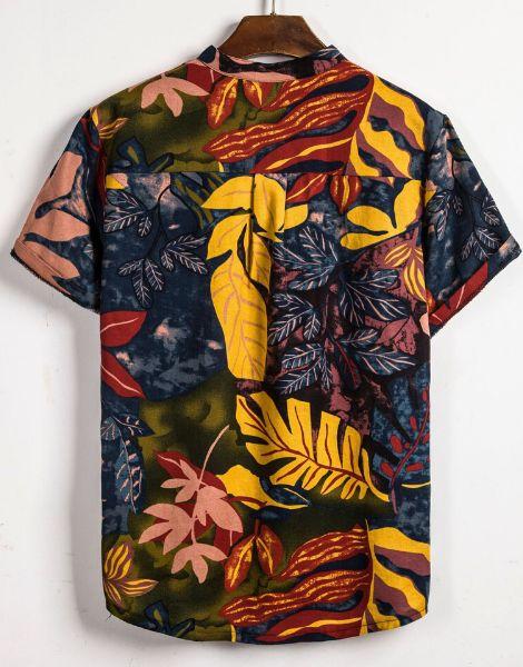 bulk leaf print cotton hawaiian summer shirts