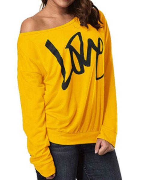 bulk love print long sleeve ladies t -shirts