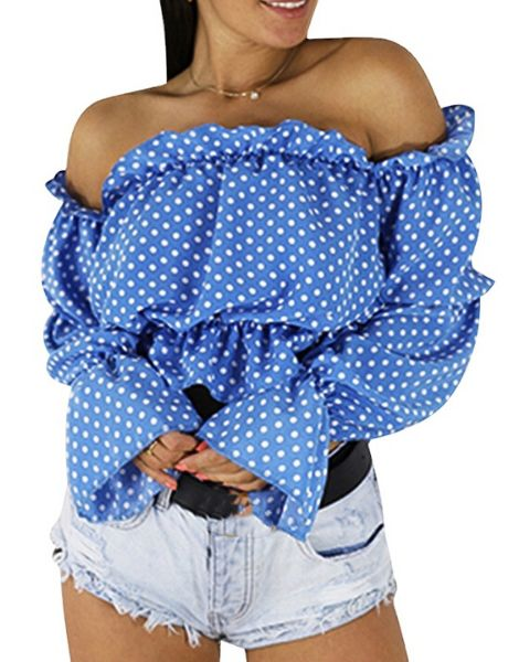 bulk off shoulder polka dot crop top