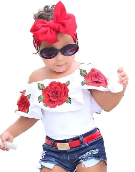 bulk rose flowers printing clothing set for girl