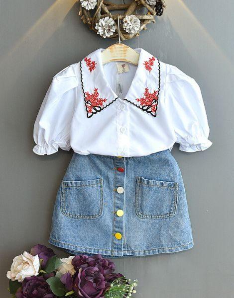 bulk top with denim skirt for girls