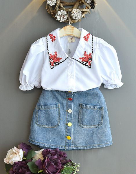 bulk top with denim skirt for girls