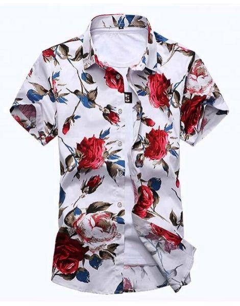 custom flowers printed short sleeve shirts