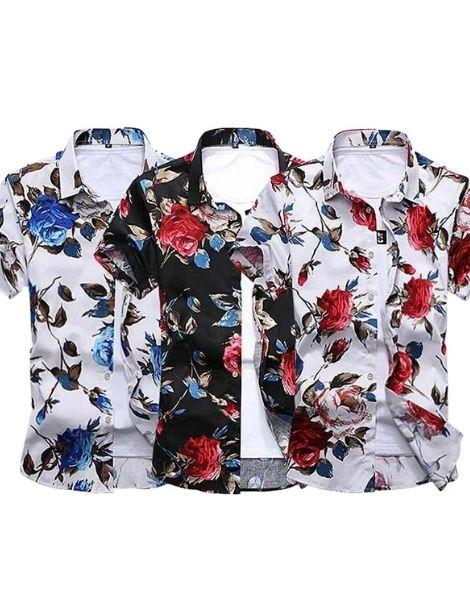 bulk flowers printed short sleeve shirts