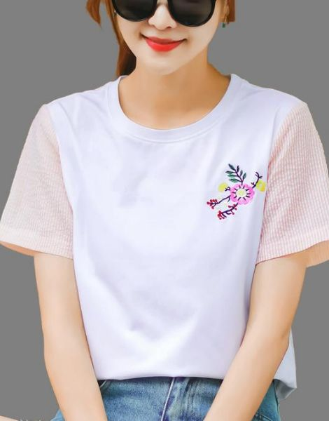 wholesale bulk cotton short sleeve embrioded ladies t-shirt