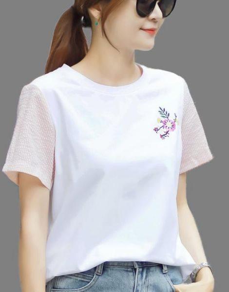 bulk cotton short sleeve embrioded ladies t-shirt