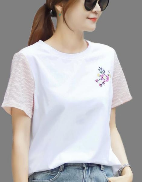 bulk cotton short sleeve embrioded ladies t-shirt