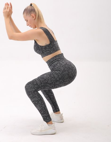 custom leopard patterned breathable activewear set manufacturers