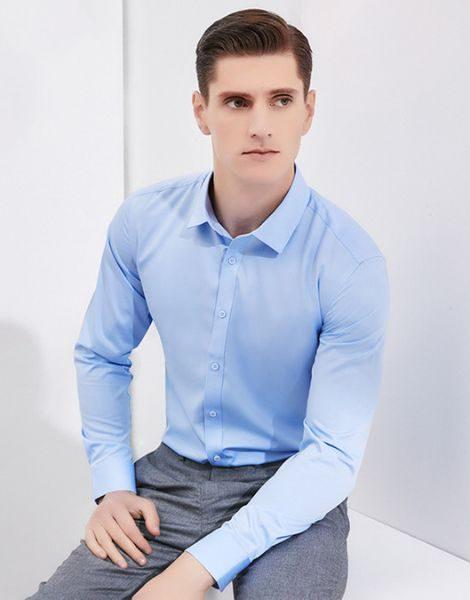 custom men single color formal shirts
