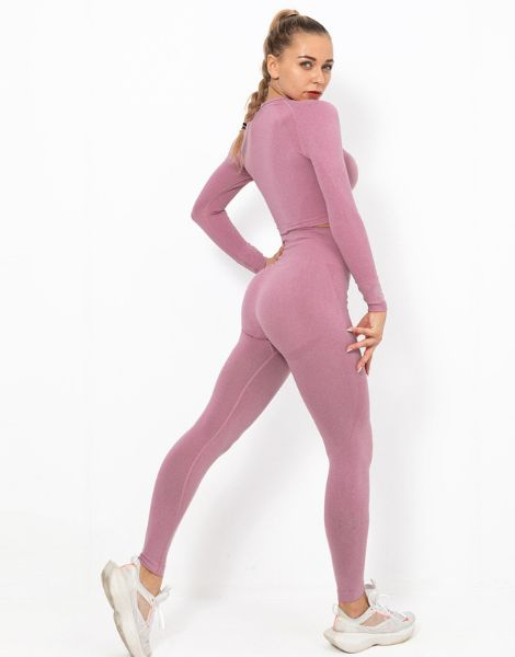bulk long sleeve gym top with high waist leggings