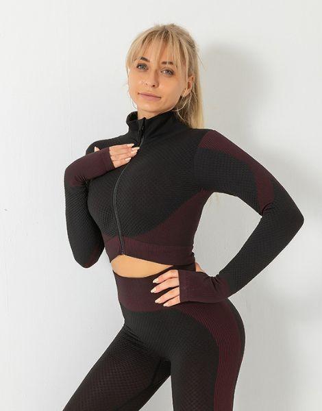 bulk long-sleeved fitness jacket with high waist leggings