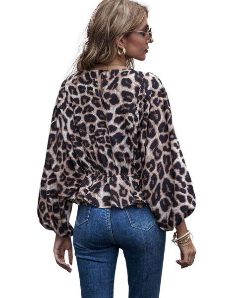 wholesale bulk leopard printed long sleeve womens top