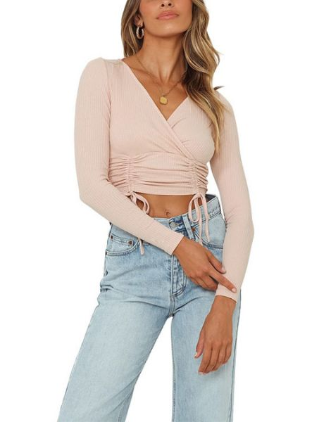 custom long sleeve ruched drawstrings womens crop top manufacturers
